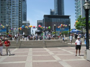 The festivities outside Toronto's Rogers Centre